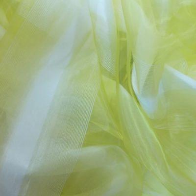 Perdea  organza alb cu galben