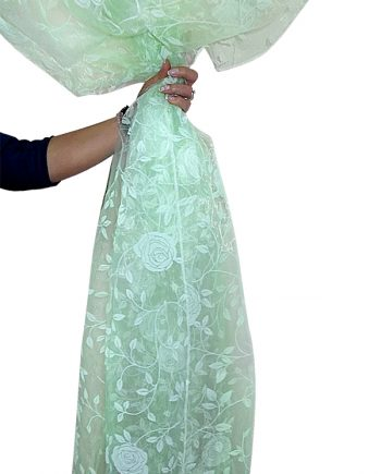 Perdea  organza vernil  cu model catifea floral