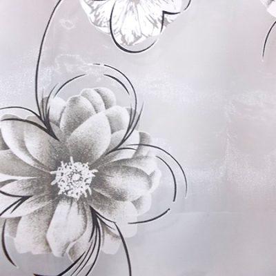 Perdea organza alba cu flori maro-crem