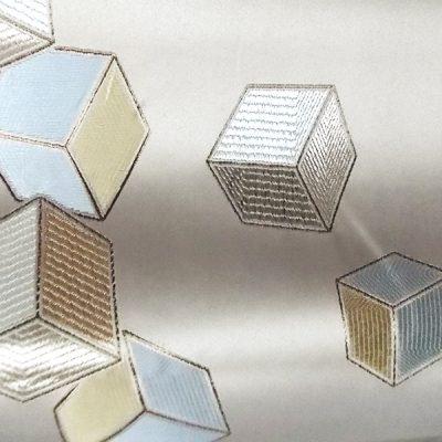 Draperie blackput crem cu model cuburi