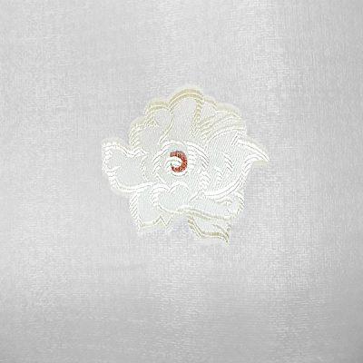 Perdea inisor alb cu flori maro auriu
