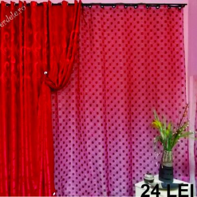 Red organza curtain