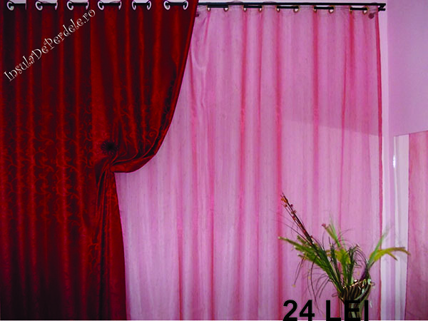 Pink curtain with golden stripes