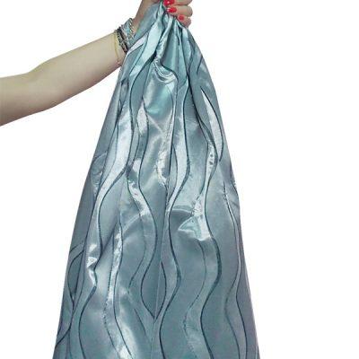 Curved gray silk curtain