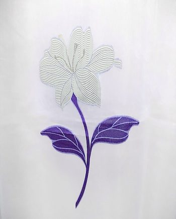 White curtain with cream and purple flowers