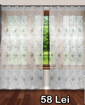 White curtain with black and white circles