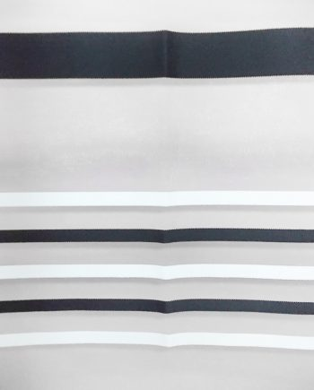 White curtain with white and black stripes