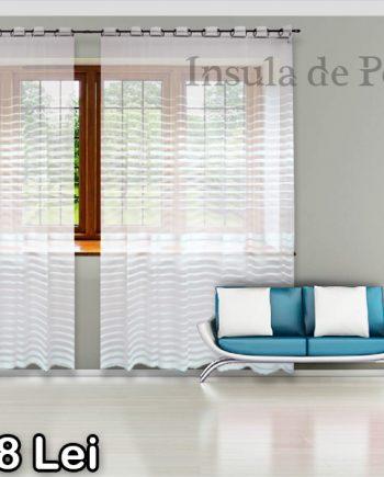 White curtain with white stripes