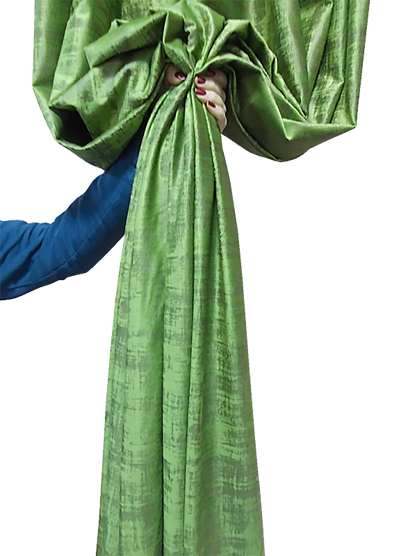 Green drapery with inserts