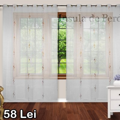 White golden curtain with golden brown pattern