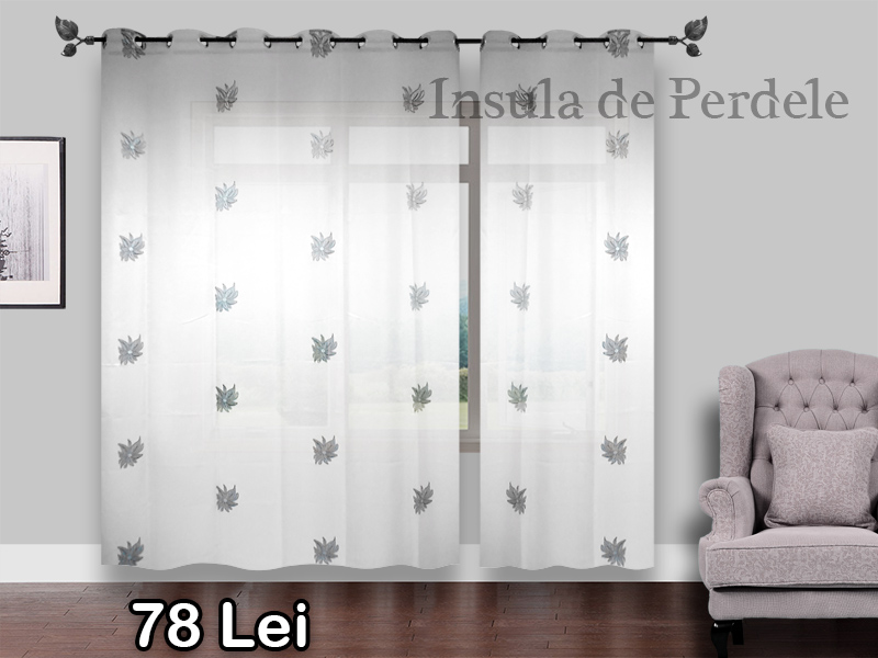 White white curtain with silver black flowers