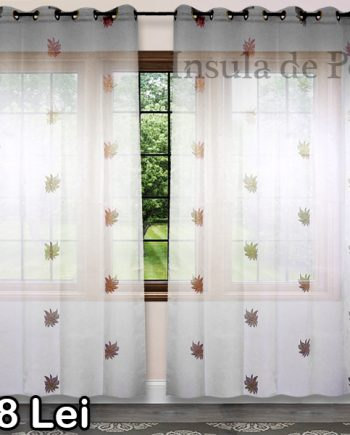Curly ivory curtain with beige flowers