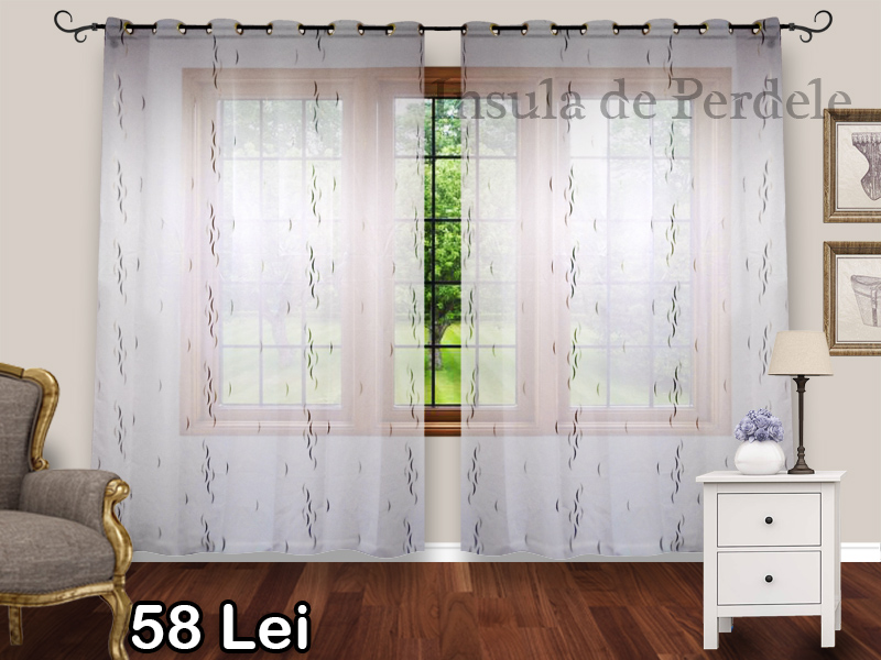 White veil curtain with beige wenge pattern