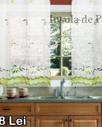 White veil curtain with green pear