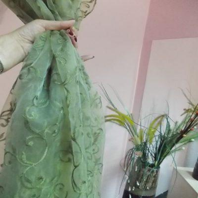 Perdea  organza verde cu model