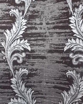 Draperie maro cu flori argintii