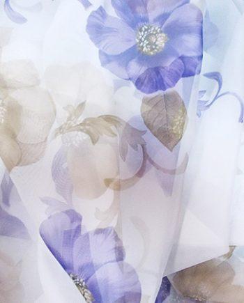Perdea voal alb cu  flori mov si crem