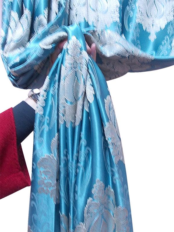 Draperie turcoaz cu  model baroc crem