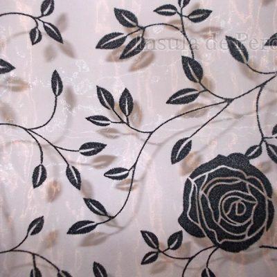 Perdea organza ivoar cu model catifea floral