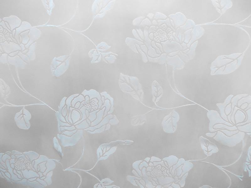 Perdea  organza ivoar cu model catifea floral crem