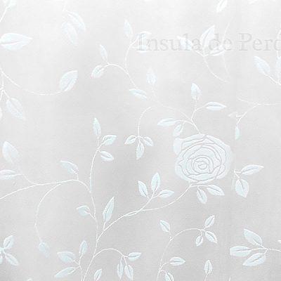 Perdea  ivoar cu model catifea floral crem