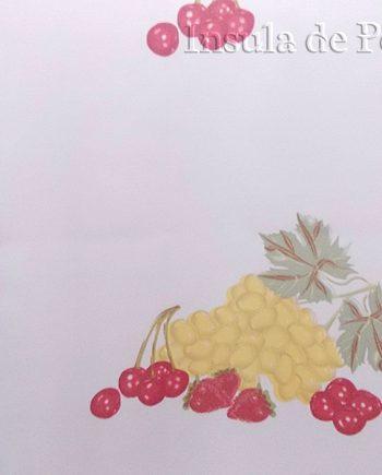 Perdea  voal alb cu  fructe