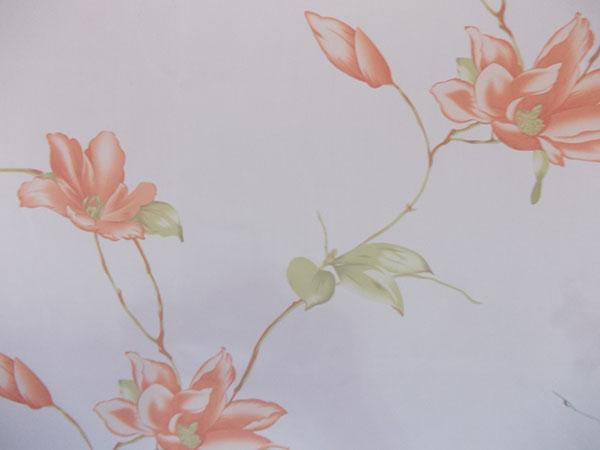 Perdea alba cu flori portocalii