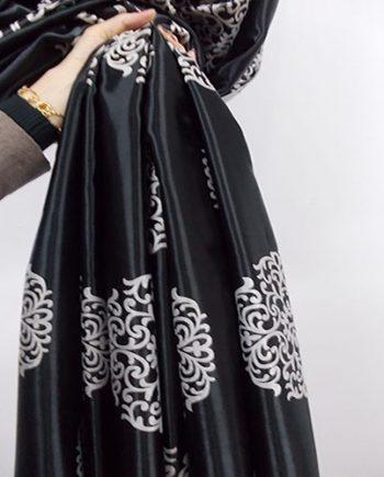 Draperie blackout gri cu negru cu model