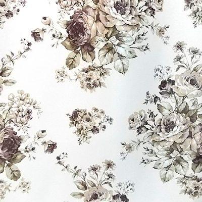 Draperie blackout bej cu flori crem-wenge