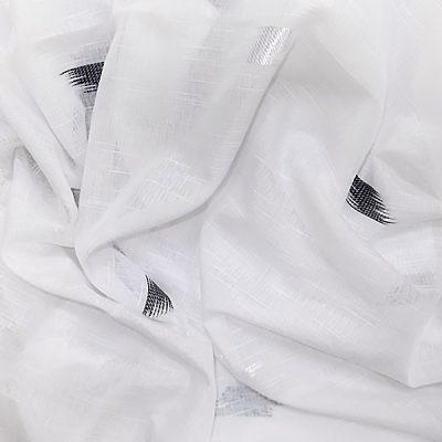 Perdea inisor alb cu model alb negru