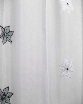 Perdea inisor alb cu flori alb negru