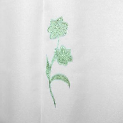 Perdea inisor alba cu flori verzi