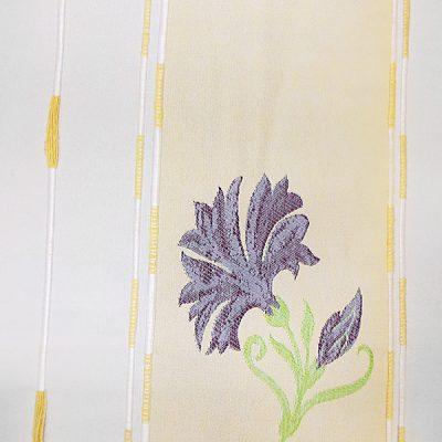 Draperie cu model floral mov si fond crem-bej
